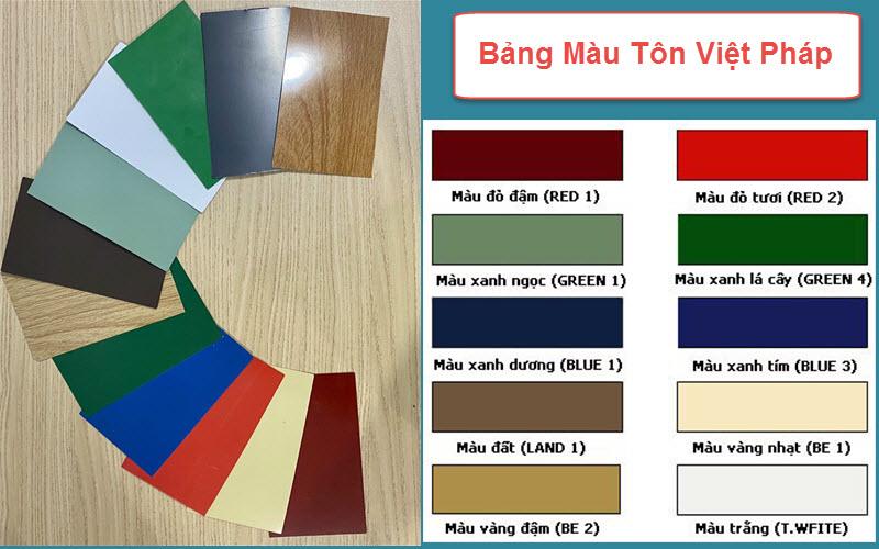 Bảng màu của tôn Việt Pháp