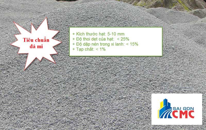 Tiêu chuẩn đá mi sàng phục vụ công trình
